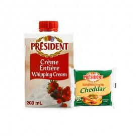 总统超高温灭菌稀奶油+三明治专用奶酪片组合